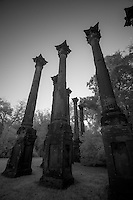 Infrared photo of the&nbsp;Windsor Ruins&nbsp;near&nbsp;Port Gibson&nbsp;Mississippi, are those of the largest&nbsp;antebellum&nbsp;Greek Revival&nbsp;mansion built in the state, and have been used in various motion pictures.  At one time the plantation covered 2,600 acres. Smith Coffee Daniell II, who was born in Mississippi in 1826, the son of an Indian fighter turned farmer and landowner, constructed the mansion itself in 1859-1861. Basic construction of the house, which was designed by David Shroder was done by slave labor. The bricks for use in the 45-foot columns were made in a kiln across the road from the house. The columns were then covered with mortar and plaster. There were 29 of these columns supporting the projecting roof line with its plain, broad frieze and molded cornice. This provided protection for the galleries that encompassed the house at the second and third levels. The fluted columns had iron Corinthian capitals and were joined at the galleries by an ornamental iron balustrade. <br /> The mansion contained twenty-five rooms with twenty-five fireplaces, with a basement containing a school room, dairy, and supply rooms.<br /> <br /> The home survived the war only to be totally destroyed on February 17, 1890, by a fire said to have been caused by a party guest who carelessly dropped a cigarette.