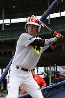 Wyatt Cross (25) of Legacy High School in Broomfield, Colorado during practice before the Under Armour All-American Game on August 16, 2014 at Wrigley Field in Chicago, Illinois.  (Mike Janes/Four Seam Images)