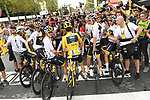 Geraint Thomas (WAL) Team Sky wins the overall Yellow Jersey and Chris Froome (GBR) Team Sky in 3rd pictured with the team at the end of Stage 21 of the 2018 Tour de France running 116km from Houilles to Paris Champs-Elysees, France. 29th July 2018. <br /> Picture: ASO/Pauline Ballet | Cyclefile<br /> All photos usage must carry mandatory copyright credit (&copy; Cyclefile | ASO/Pauline Ballet)