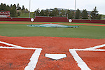 A view from home plate, looking out towards the outfield fence and the Student Rec Center in the distance at Bailey-Brayton Field, the baseball home of the Washington State Cougar baseball teams, on the campus of Washington State University in Pullman, Washington.