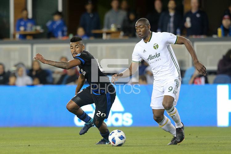 San Jose, CA - Saturday May 05, 2018: Anibal Godoy, Fanendo Adi during a Major League Soccer (MLS) match between the San Jose Earthquakes and the Portland Timbers at Avaya Stadium.