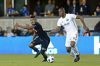 San Jose, CA - Saturday May 05, 2018: Anibal Godoy, Fanendo Adi during a Major League Soccer (MLS) match between the San Jose Earthquakes and the Portland Timbers at Avaya Stadium.