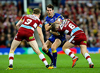 Warrington Wolves' Stefan Ratchford is tackled by Wigan Warriors' George Williams<br /> <br /> Photographer Alex Dodd/CameraSport<br /> <br /> Betfred Super League Grand Final - Wigan Warriors v Warrington Wolves - Saturday 13th October 2018 - Old Trafford - Manchester<br /> <br /> World Copyright © 2018 CameraSport. All rights reserved. 43 Linden Ave. Countesthorpe. Leicester. England. LE8 5PG - Tel: +44 (0) 116 277 4147 - admin@camerasport.com - www.camerasport.com