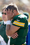 Green Bay Packers quarterback Brett Favre (4) suffered a concussion during an NFL football game against the New York Giants at Lambeau Field on October 3, 2004 in Green Bay, Wisconsin. The Giants beat the Packers 14-7. (Photo by David Stluka)