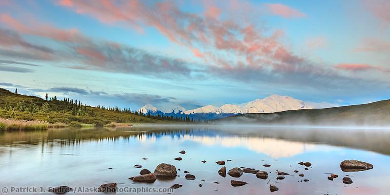 Early morning sunrise on the face of Denali, Wonder Lake, Denali National Park, Interior, Alaska.