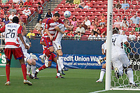 FC Dallas forward Kenny Cooper (33) gets a  shot on net with a header. Real Salt Lake vs FC Dallas at Pizza Hut Park Frisco, Texas May-24-2008 Final Score 1-2