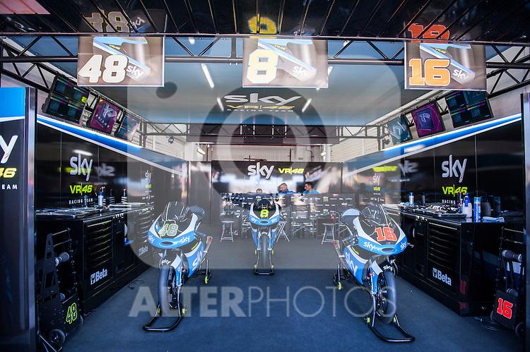 VALENCIA, SPAIN - NOVEMBER 11: Sky Team box during Valencia MotoGP 2016 at Ricardo Tormo Circuit on November 11, 2016 in Valencia, Spain
