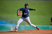 Jaylen Jones (32) of Thomasville High School in Thomasville, GA during the Perfect Game National Showcase at Hoover Metropolitan Stadium on June 20, 2020 in Hoover, Alabama. (Mike Janes/Four Seam Images)