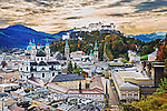 Early morning view of Salzburg from the top of the Mönchsberg.