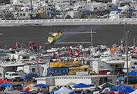 Apr 28, 2007; Talladega, AL, USA; Nascar Busch Series driver Jon Wood (47) crashes during the Aarons 312 at Talladega Superspeedway. Mandatory Credit: Mark J. Rebilas