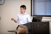 "Marc Kawada presents, ""Visible Light Photoredox-Catalyzed Hydroalkylation of Alkenes with 1,3-Dicarbonyls""<br /> Mentor: Jeffrey Cannon, Chemistry<br /> Occidental College's Undergraduate Research Center hosts their annual Summer Undergraduate Research Conference on July 31, 2019. Student researchers presented their work as either oral or poster presentations at this final conference. The program lasts 10 weeks and involves independent research in all departments.<br /> (Photo by Marc Campos, Occidental College Photographer)"