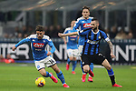 Dries Mertens of Napoli takes the ball past Marcelo Brozovic of Inter during the Coppa Italia match at Giuseppe Meazza, Milan. Picture date: 12th February 2020. Picture credit should read: Jonathan Moscrop/Sportimage