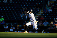 Bradenton Marauders right fielder Bligh Madris (17) follows through on a swing during a game against the Tampa Tarpons on April 25, 2018 at LECOM Park in Bradenton, Florida.  Tampa defeated Bradenton 7-3.  (Mike Janes/Four Seam Images)