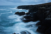 Waves crash against rugged coastline at Butt of Lewis, Isle of Lewis, Western Isles, Scotland