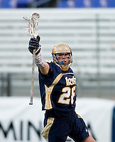 Zach Brenneman (28) of Notre Dame celebrates a goal during the Face-Off Classic in at M&T Stadium in Baltimore, MD