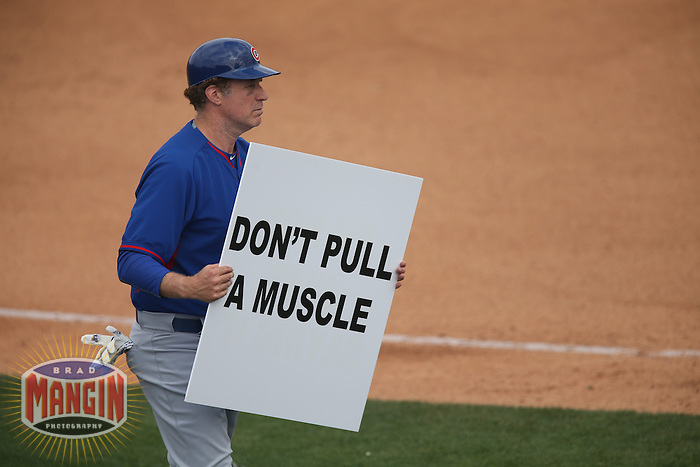 TEMPE, AZ - MARCH 12:  Actor Will Ferrell of the Chicago Cubs coaches third base against the Los Angeles Angels during a spring training game at Tempe Diablo Stadium on March 12, 2015 in Tempe, Arizona. (Photo by Brad Mangin)