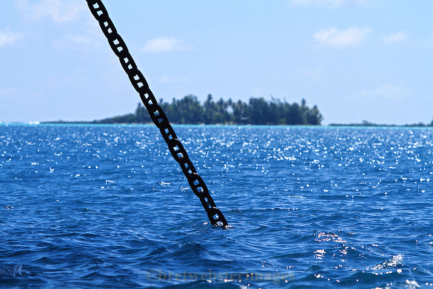 An anchor chain in a beautiful setting.