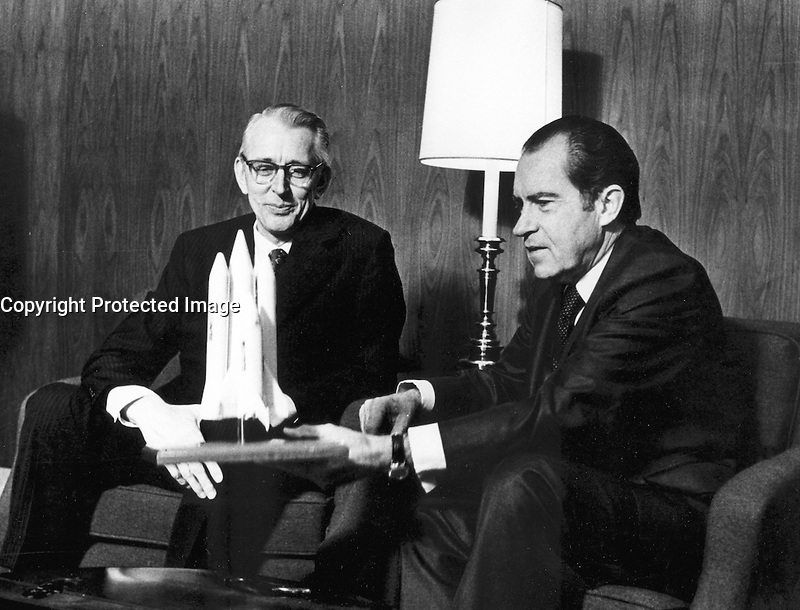 San Clemente, California, January 5, 1972.-  File Photo - President Richard M. Nixon and Dr. James C. Fletcher, NASA Administrator, discussed the proposed Space Shuttle vehicle in San Clemente, California, on January 5, 1972. The President announced that day that the United States should proceed at once with the development of an entirely new type of space transportation system designed to help transform the space frontier into familiar territory.