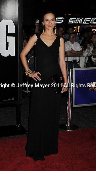 """UNIVERSAL CITY, CA - OCTOBER 10: Kim Bubbs arrives to """"The Thing"""" Los Angeles Premiere at AMC Universal City Walk on October 10, 2011 in Universal City, California."""