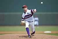 Winston-Salem Rayados starting pitcher John Parke (28) delivers a pitch to the plate against the Potomac Nationals at BB&T Ballpark on August 12, 2018 in Winston-Salem, North Carolina. The Rayados defeated the Nationals 6-3. (Brian Westerholt/Four Seam Images)