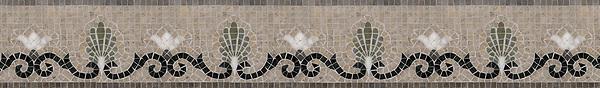"Goddess 6"" stone mosaic border, a hand-cut mosaic shown in honed Montevideo, Jura Grey, polished Nero Marquina, Verde Luna, and Calacatta."