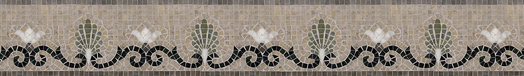 "Goddess 6"" stone mosaic border, a hand-cut mosaic shown in honed Montevideo, Jura Grey, polished Nero Marquina, Verde Luna, and Calacatta."
