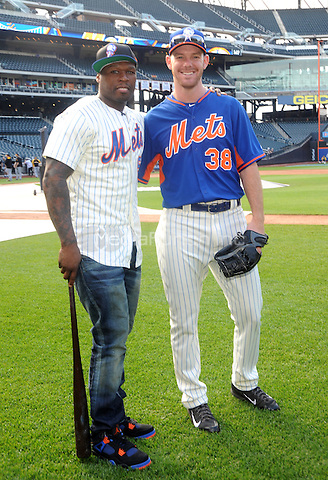 New York, NY- May 27:  Curtis &quot;50Cent&quot; Jackson gets together with Vic Black  before he throws out the first pitch at the New York Mets-Pittsburgh Pirates game at Citi Field on May 27, 2014 in support of his upcoming post-game concert at Citi-Field in Flushing, New York. <br /> Credit: John Palmer/MediaPunch