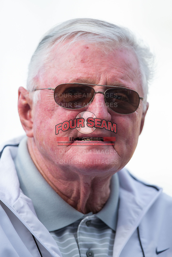 "Legendary Chicago White Sox television broadcaster Ken ""Hawk"" Harrelson was on hand for the exhibition game against the Charlotte Knights at BB&T Ballpark on April 3, 2015 in Charlotte, North Carolina.  (Brian Westerholt/Four Seam Images)"