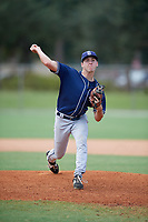 Collin Bosley-Smith (22) during the WWBA World Championship at the Roger Dean Complex on October 10, 2019 in Jupiter, Florida.  Collin Bosley-Smith attends Woodrow Wilson High School in Washington, DC and is committed to Duke.  (Mike Janes/Four Seam Images)