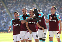 West Ham United's Mark Noble celebrates scoring his side's second goal with Aaron Cresswell, Marko Arnautovic,  Cheikhou Kouyate and Declan Rice<br /> <br /> Photographer Rob Newell/CameraSport<br /> <br /> The Premier League - Leicester City v West Ham United - Saturday 5th May 2018 - King Power Stadium - Leicester<br /> <br /> World Copyright &copy; 2018 CameraSport. All rights reserved. 43 Linden Ave. Countesthorpe. Leicester. England. LE8 5PG - Tel: +44 (0) 116 277 4147 - admin@camerasport.com - www.camerasport.com