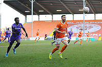 Blackpool's James Husband under pressure from Maidstone United's Justin Amaluzor<br /> <br /> Photographer Kevin Barnes/CameraSport<br /> <br /> Emirates FA Cup Second Round - Blackpool v Maidstone United - Sunday 1st December 2019 - Bloomfield Road - Blackpool<br />  <br /> World Copyright © 2019 CameraSport. All rights reserved. 43 Linden Ave. Countesthorpe. Leicester. England. LE8 5PG - Tel: +44 (0) 116 277 4147 - admin@camerasport.com - www.camerasport.com