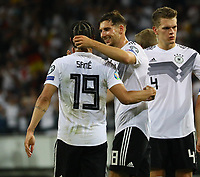 Leroy Sane (Deutschland Germany) mit Leon Goretzka (Deutschland, Germany) - 11.06.2019: Deutschland vs. Estland, OPEL Arena Mainz, EM-Qualifikation DISCLAIMER: DFB regulations prohibit any use of photographs as image sequences and/or quasi-video.