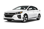 Stock pictures of low aggressive front three quarter view of 2017 Hyundai Ioniq-Electric Electric-Limited 5 Door Hatchback Low Aggressive