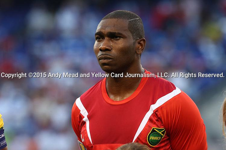 18 July 2015: Ryan Thompson (JAM). The Jamaica Men's National Team played the Haiti Men's National Team at M&T Bank Stadium in Baltimore, Maryland in a 2015 CONCACAF Gold Cup quarterfinal match. Jamaica won the game 1-0.