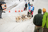 Linwood Fiedler on Cordova Street at the Ceremonial Start of the 2016 Iditarod in Anchorage, Alaska.  March 05, 2016