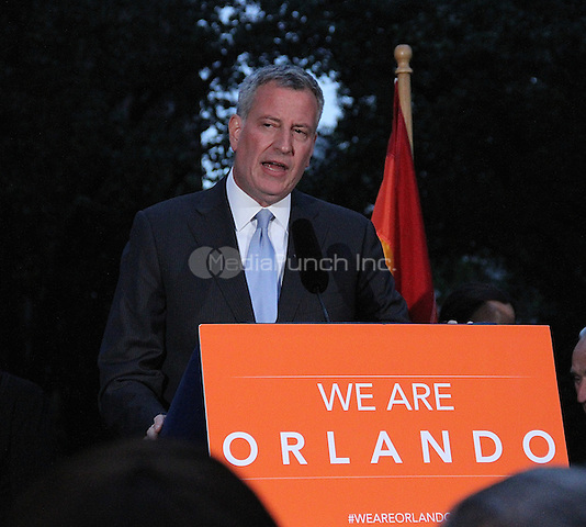 NEW YORK, NY - JUNE 13: New York City Mayor Bill de Blasio at a vigil for the victims of the Orlando Mass Shooting held in Greenwich Village at the NYC LBGT landmark Stonewall Inn in New York, New York on June 13, 2016.  Photo Credit: Rainmaker Photo/MediaPunch