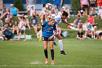 Kansas City, MO - Wednesday August 16, 2017: Katie Bowen, Kristen Edmonds during a regular season National Women's Soccer League (NWSL) match between FC Kansas City and the Orlando Pride at Children's Mercy Victory Field.