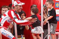 Joaquin Purito Rodriguez with his son and his daughter after the stage of La Vuelta 2012 between Lleida-Lerida and Collado de la Gallina (Andorra).August 25,2012. (ALTERPHOTOS/Paola Otero) /NortePhoto.com<br /> <br /> **CREDITO*OBLIGATORIO** <br /> *No*Venta*A*Terceros*<br /> *No*Sale*So*third*<br /> *** No*Se*Permite*Hacer*Archivo**<br /> *No*Sale*So*third*