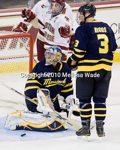 No goal - whistle blew.  Joe Whitney (BC - 15), Joe Cannata (Merrimack - 35), Kyle Bigos (Merrimack - 3) - The Boston College Eagles defeated the visiting Merrimack College Warriors 3-2 on Friday, October 29, 2010, at Conte Forum in Chestnut Hill, Massachusetts.