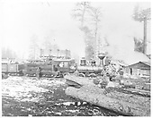 View of logging camp with engine and gondola on track, logs in foreground and workmen standing by engine.<br /> Tierra Amarilla Southern  Azotea, NM
