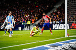 Goalkeeper Miguel Angel Moya of Real Sociedad (C) in action during the La Liga 2018-19 match between Atletico de Madrid and Real Sociedad at Wanda Metropolitano on October 27 2018 in Madrid, Spain.  Photo by Diego Souto / Power Sport Images
