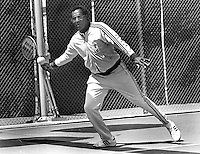 Bill Cosby playing tennis in San Francisco, 1982,<br />