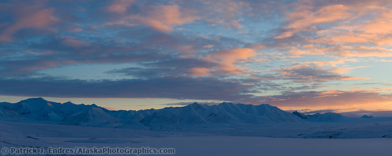 Sunset over the Endicott Mountains for the Brooks Range, Arctic, Alaska