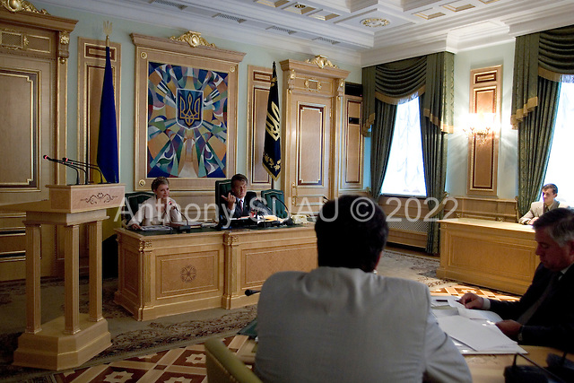 Kiev, Ukraine.August 29, 2005 ..Ukrainian Prime Minister Yulia Temichenko and President Victor Yushchenko preside over a financial budget meeting for the coming year with government officials and economic experts.