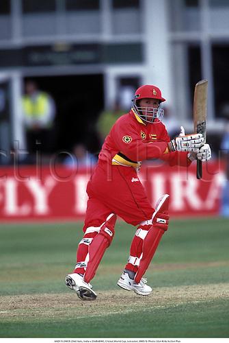 ANDY FLOWER (ZIM) bats, India v ZIMBABWE, Cricket World Cup, Leicester, 990519. Photo: Glyn Kirk/Action Plus...1999.Batsman.batting.coloured strip.pyjamas
