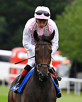 Romina ridden by Shane Kelly goes down to the start during Ladies Evening Racing at Salisbury Racecourse on 15th July 2017
