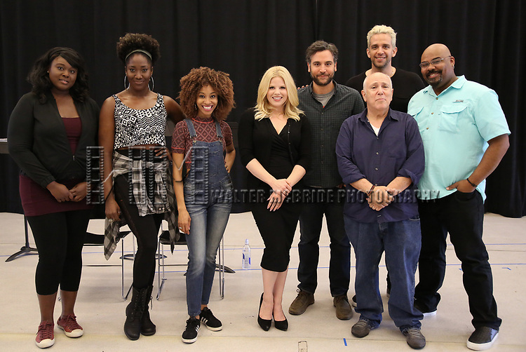 "Amma Osei, Amber Iman, Allison Semmes, Megan Hilty, Josh Radnor, Lee Wilkof, Nick Cordero and James Monroe Iglehart In Rehearsal with the Kennedy Center production of ""Little Shop of Horrors"" on October 11 2018 at Ballet Hispanica in New York City."