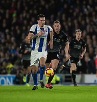 Brighton &amp; Hove Albion's Lewis Dunk (left) under pressure from Burnley's Chris Wood (right) <br /> <br /> Photographer David Horton/CameraSport<br /> <br /> The Premier League - Brighton and Hove Albion v Burnley - Saturday 9th February 2019 - The Amex Stadium - Brighton<br /> <br /> World Copyright &copy; 2019 CameraSport. All rights reserved. 43 Linden Ave. Countesthorpe. Leicester. England. LE8 5PG - Tel: +44 (0) 116 277 4147 - admin@camerasport.com - www.camerasport.com