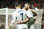 Real Madrid's Cristiano Ronaldo, Karim Benzema during Champions League match between Real Madrid and Borussia Dortmund  at Santiago Bernabeu Stadium in Madrid , Spain. December 07, 2016. (ALTERPHOTOS/Rodrigo Jimenez)