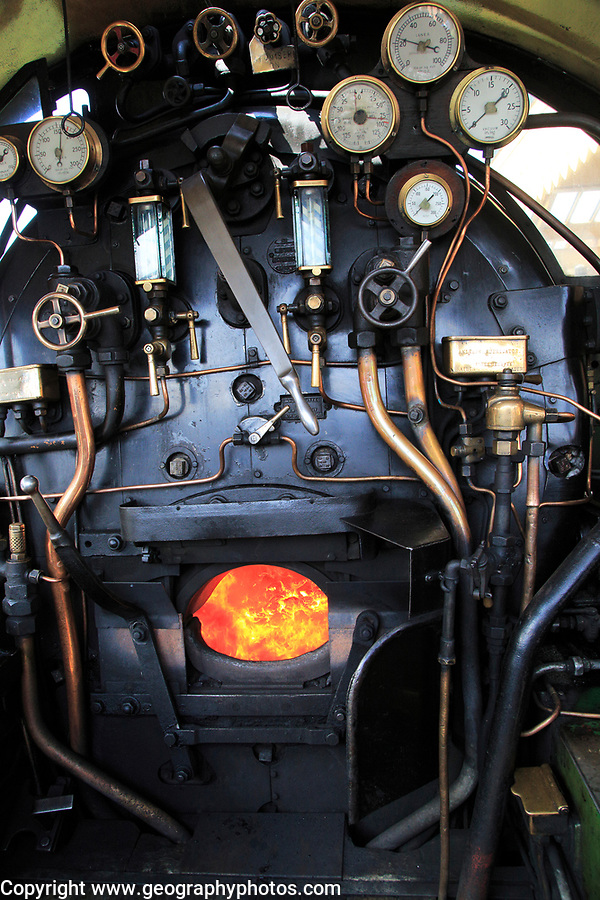 Heritage steam railway, Sheringham station, North Norfolk Railway, England, UK onboard steam engine with coal firebox